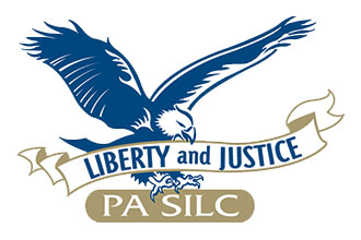 SILC Logo is an eagle with Liberty and Justice banner in its mouth