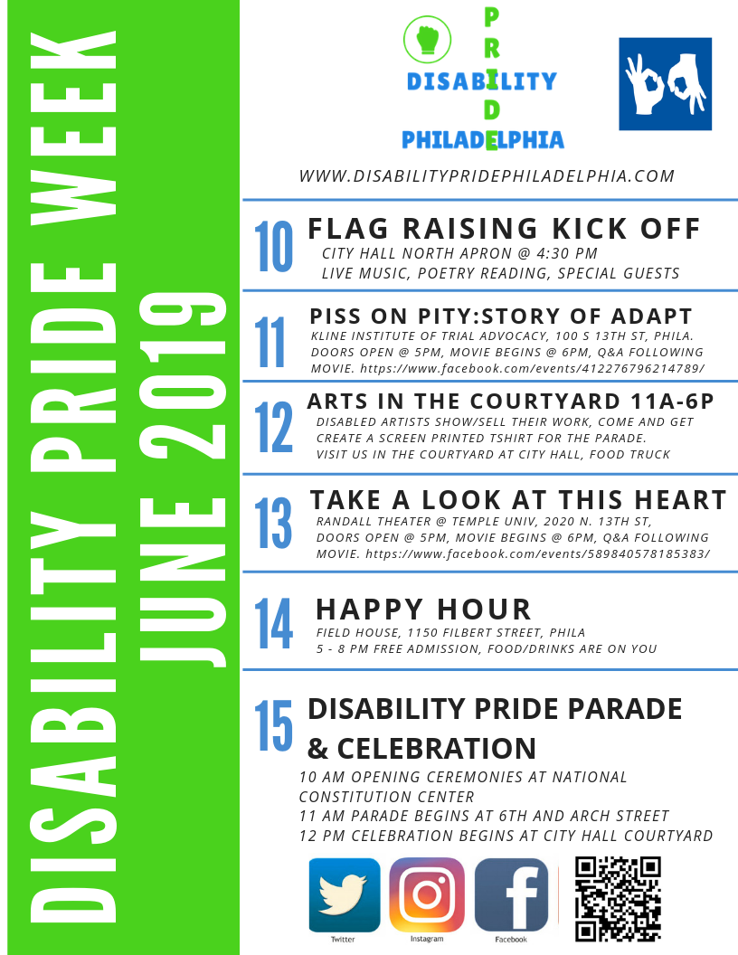 Schedule of Events for Disability Pride Week
